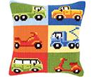 Vehicles Cross Stitch Cushion Kits