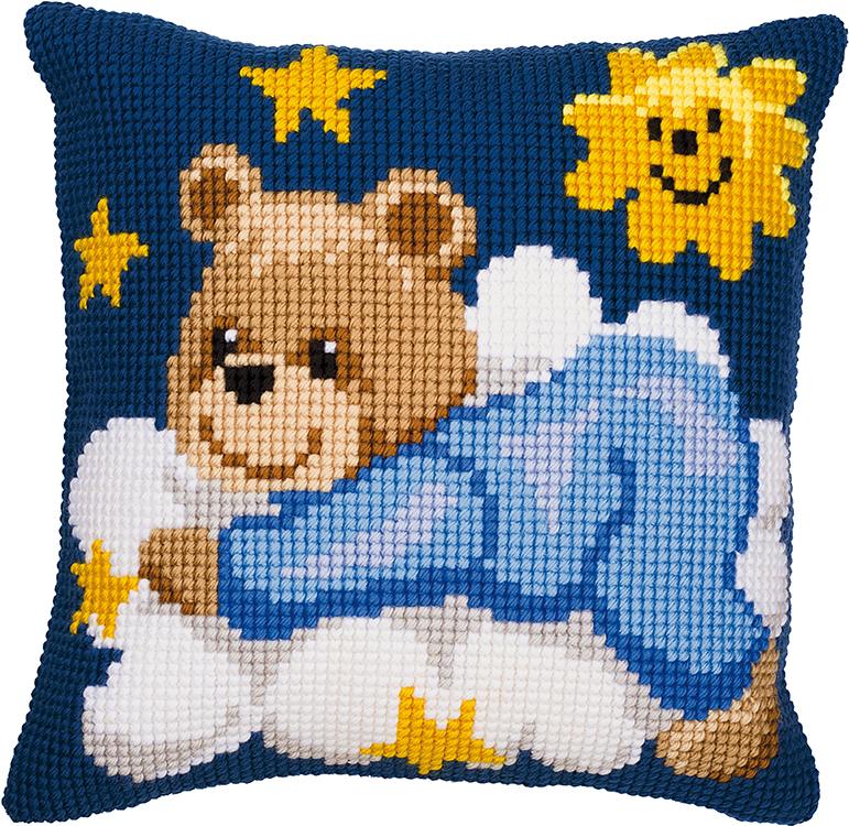 Vervaco Blue Teddy Bear Cross Stitch Cushion Kit Sew