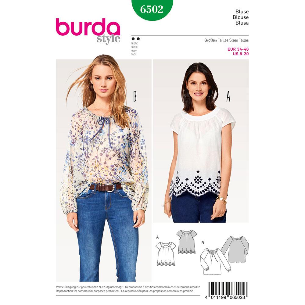 Misses Peasant Blouses Burda Sewing Pattern 6502  Size 8-20