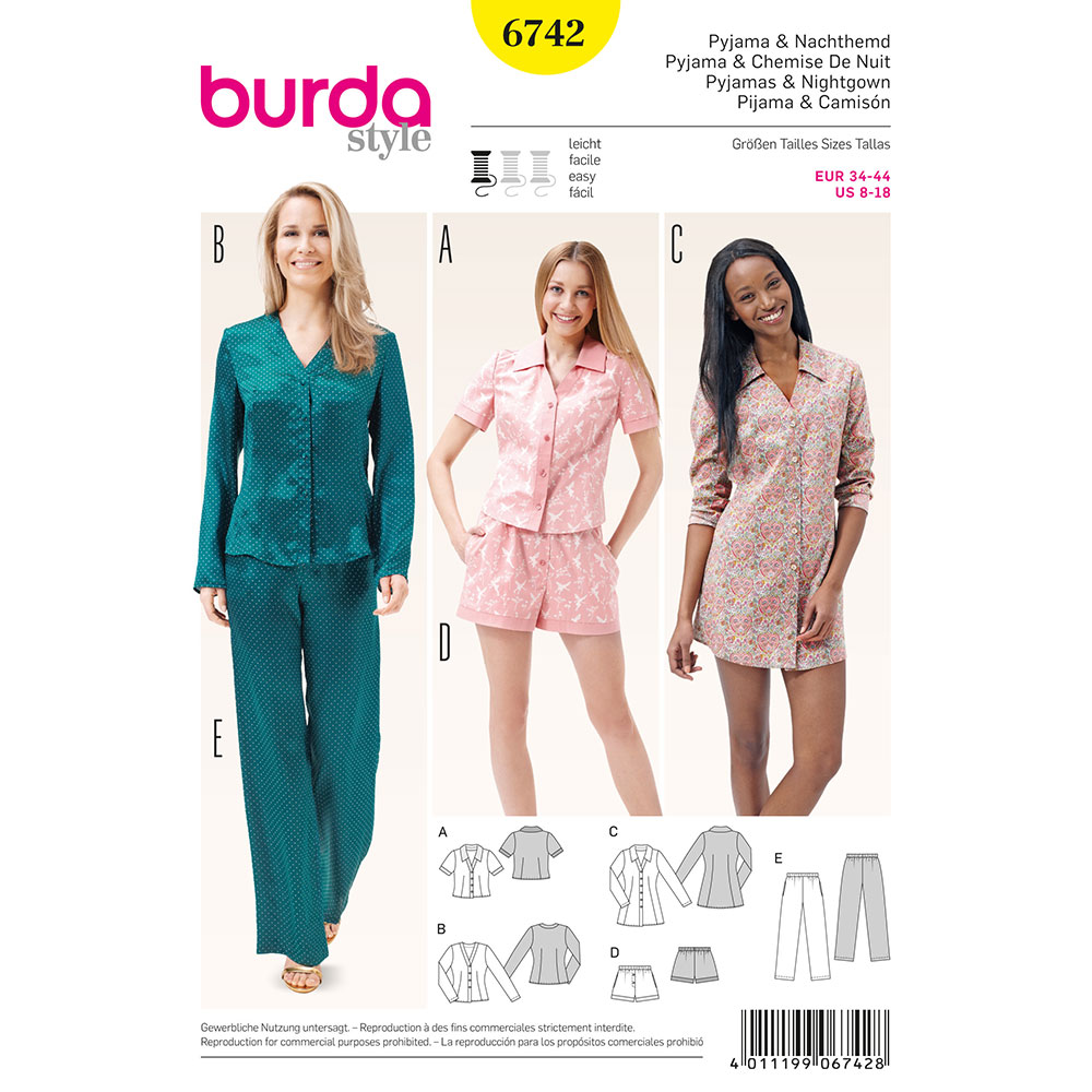 Misses Sleepwear Burda Sewing Pattern No. 6742. Size 8-18. | Sew ...