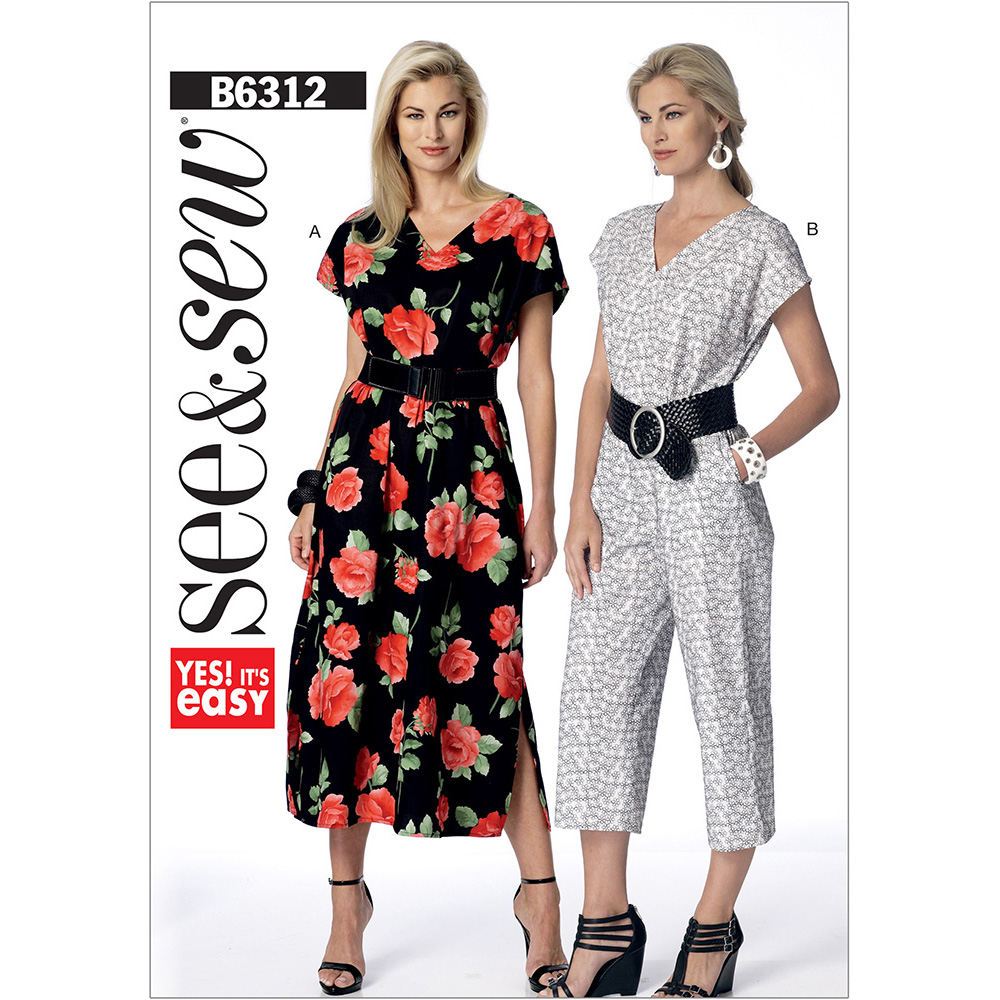 Misses V Neck Dress And Jumpsuit Butterick Sewing Pattern