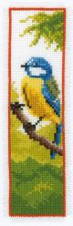 Vervaco Counted Cross Stitch Bookmark Kit. Blue Tit.