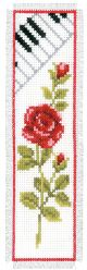 Vervaco Counted Cross Stitch Bookmark Kit. Rose and Piano.