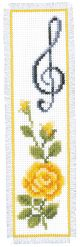 Vervaco Counted Cross Stitch Bookmark Kit. Rose and Treble Clef.