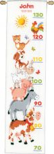 Vervaco Counted Cross Stitch Kit. Farm Animals Height Chart.