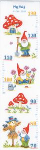 Vervaco Counted Cross Stitch Kit. Gnome Height Chart.