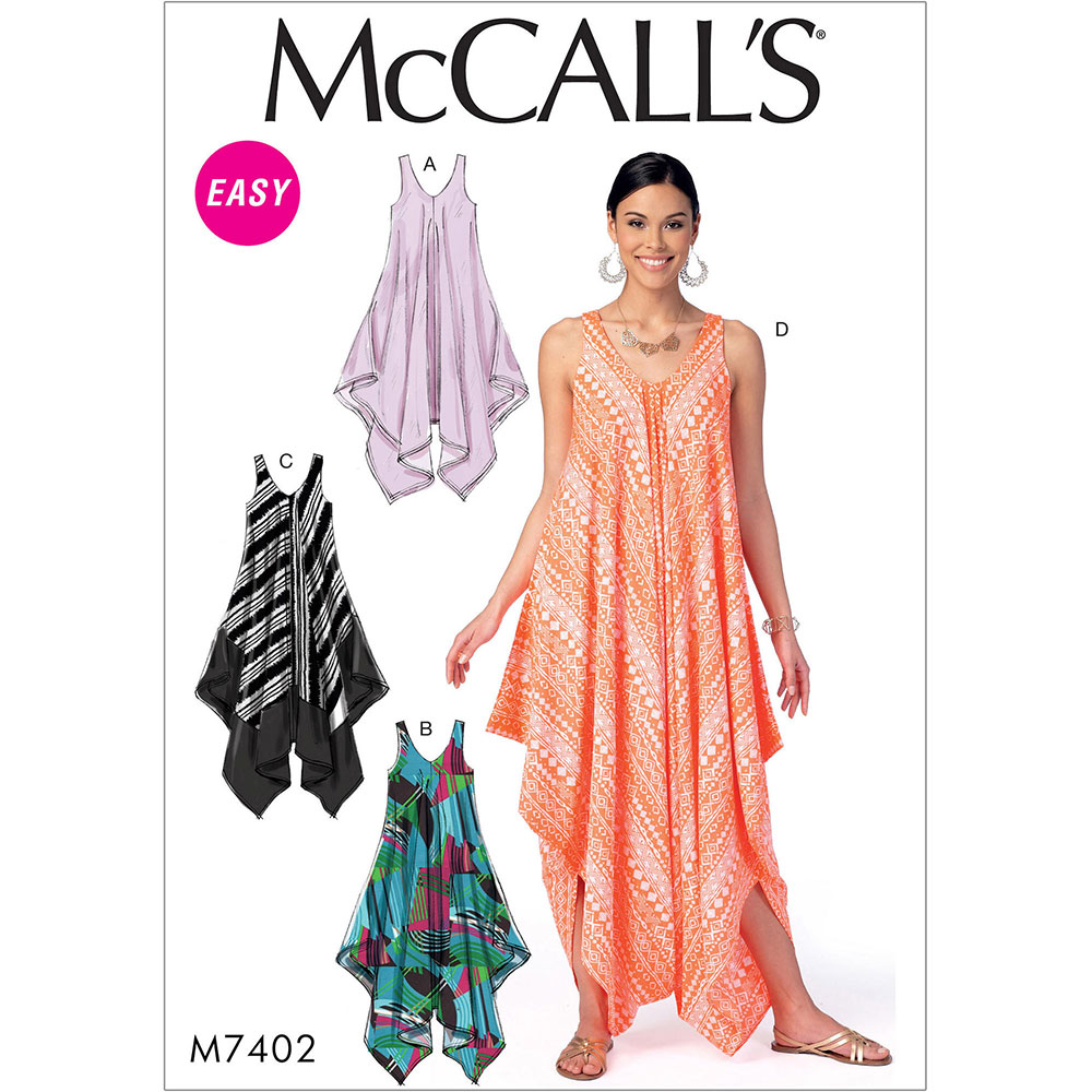 Misses Dresses And Jumpsuit Mccalls Sewing Pattern 7402
