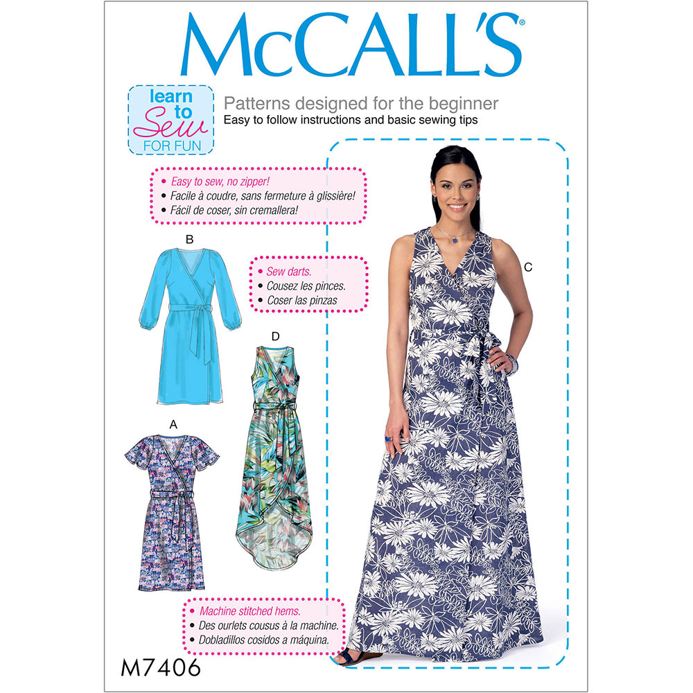 Misses Dresses And Belt McCalls Sewing Pattern 7406