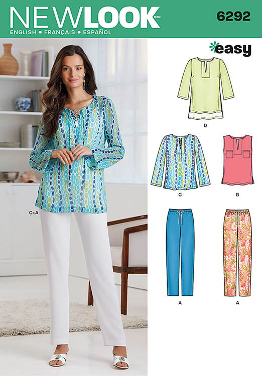 Misses Tunic or Top and Pull-on Trousers New Look Pattern No. 6292 ...