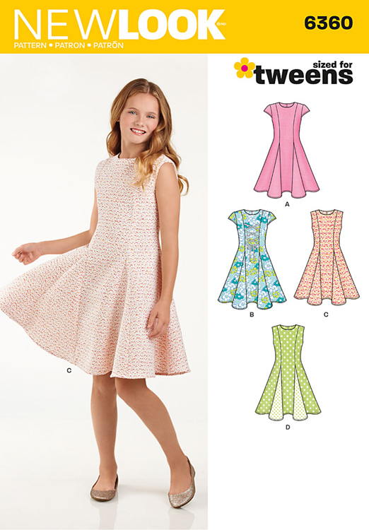 Girls Sized For Tweens Dress New Look Sewing Pattern No