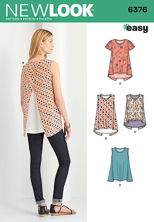 Misses Tops With Length Variations New Look Sewing Pattern