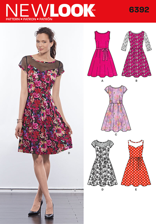 Misses Dresses With Contrast Fabric New Look Sewing