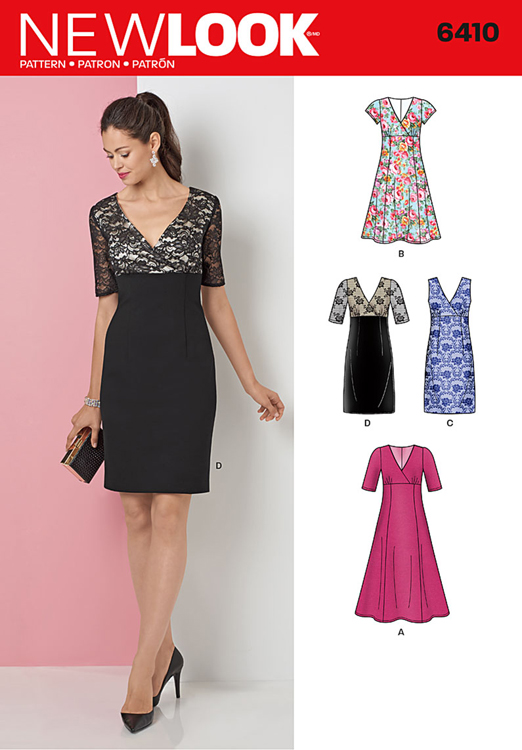 Misses Dress With Skirt And Fabric Variations New Look