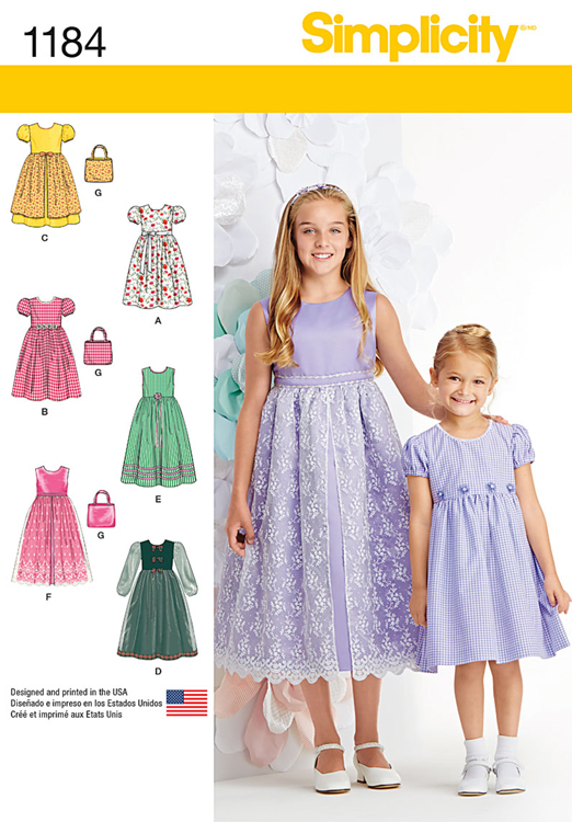 Girls Dresses and Purse Simplicity Sewing Pattern No. 1184. | Sew ...