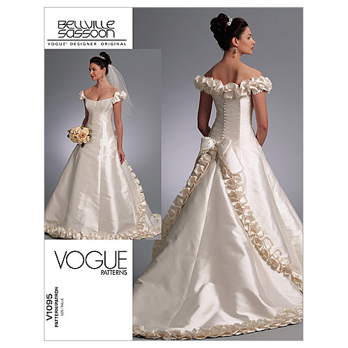Sewing Patterns For Wedding Gowns: Misses Bridal Dress Vogue Pattern 1095.