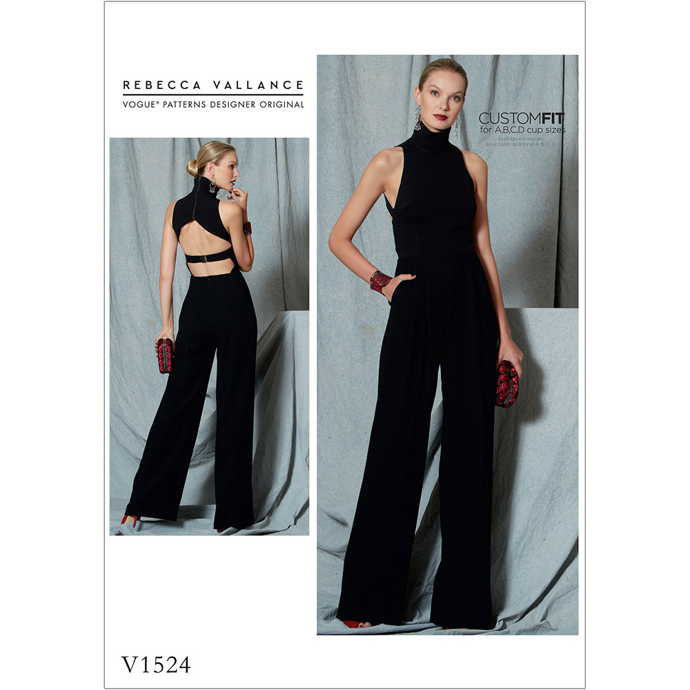Misses Open Back Belted Jumpsuit Vogue Sewing Pattern