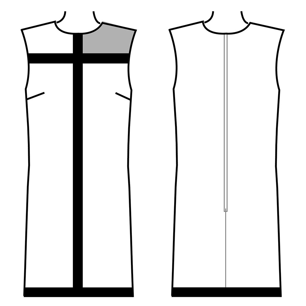 Mondrian Dress Outline Diagram