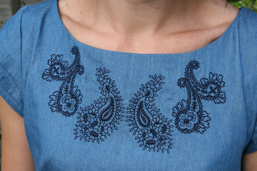 Denim Dress Embroidery Detail