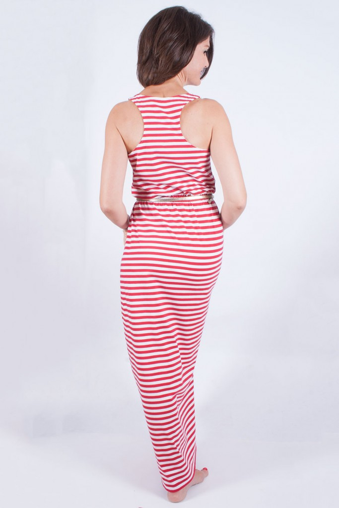 Stripy maxi dress back view
