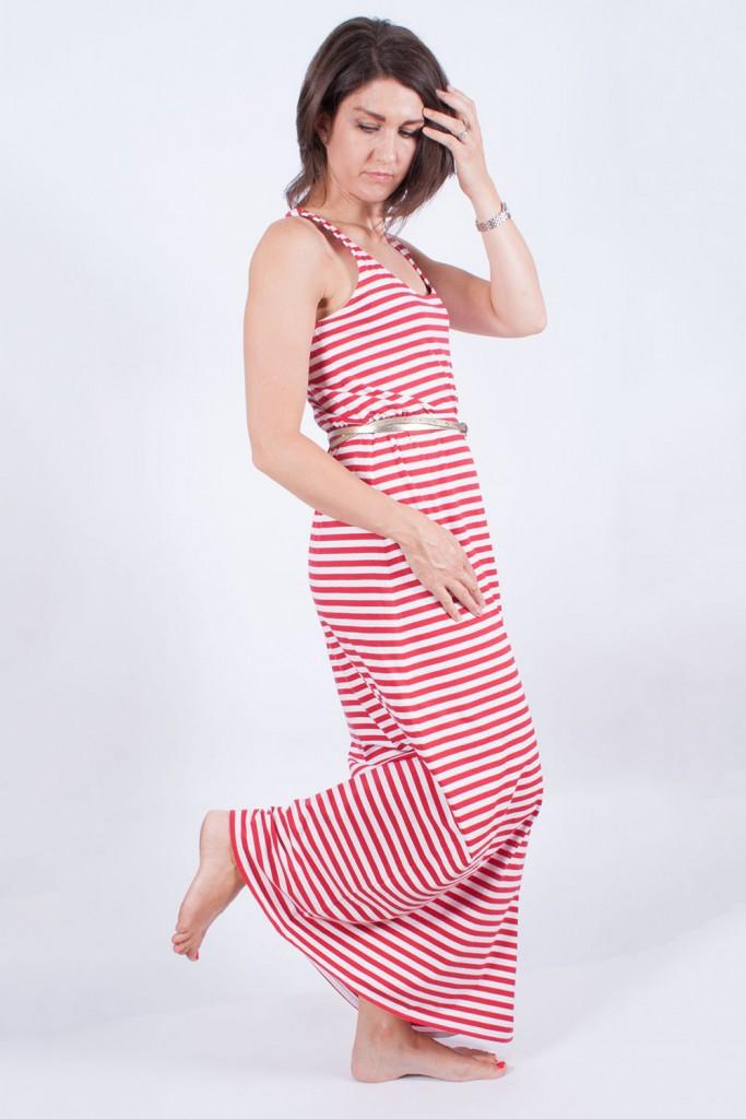 Stripy maxi dress side view
