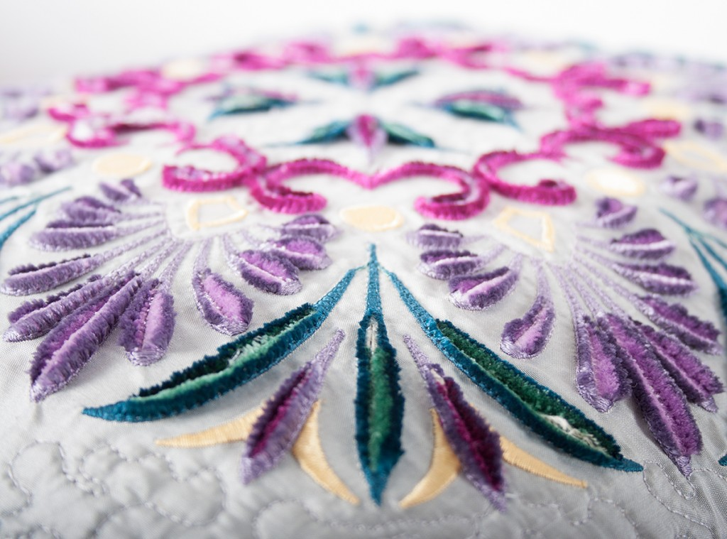 Embroidered Cushions Side View
