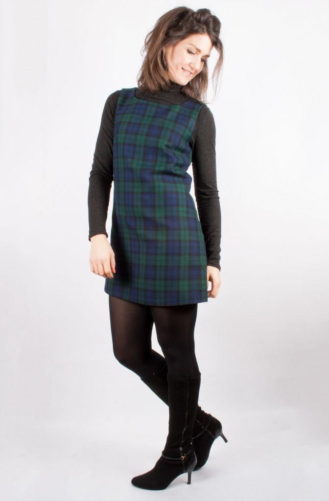 60s Tartan Pinafore Dress