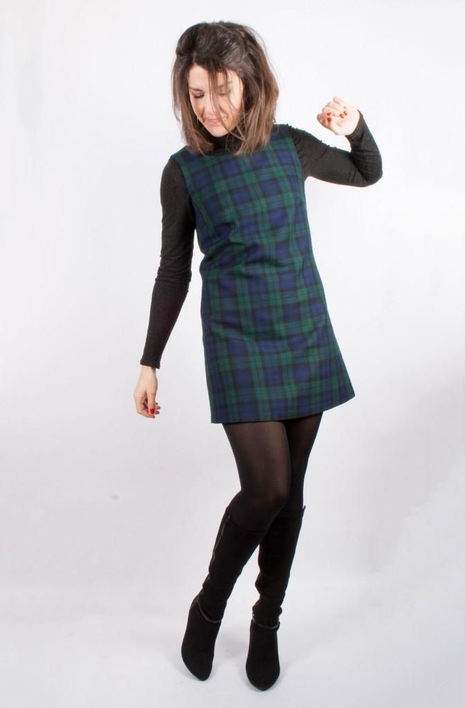 60s Tartan Pinafore Dress Side View