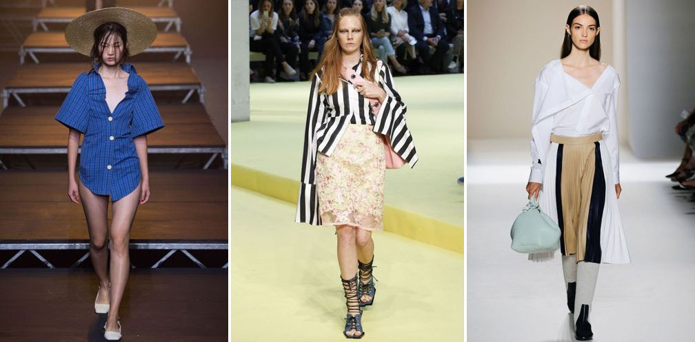 Deconstructed shirts on the catwalk