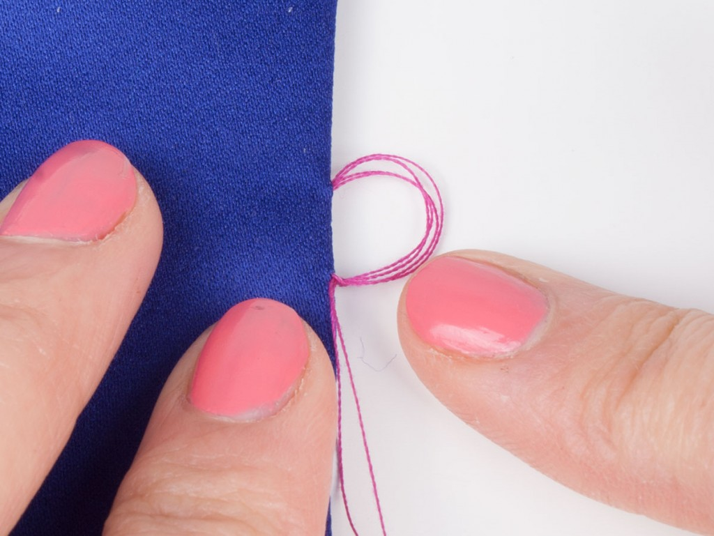 Sewing Blanket Stitches on a Hand Sewn Button Loop 3