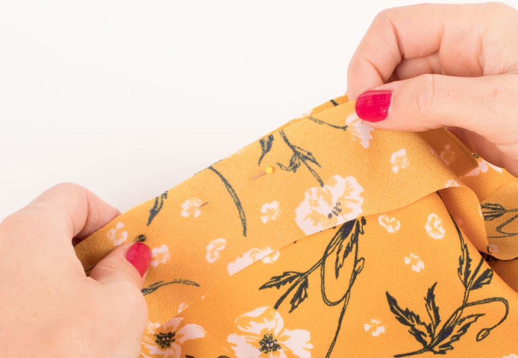 Finishing a Neckline with Bias Binding