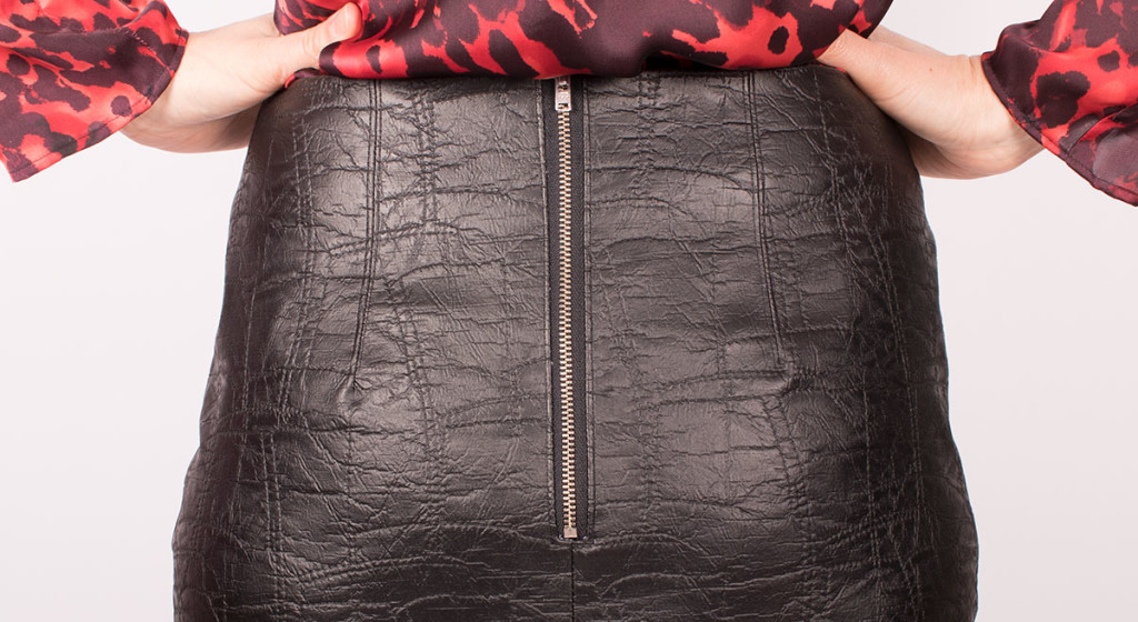 Sewing an Exposed Zip in a Leather Look Skirt