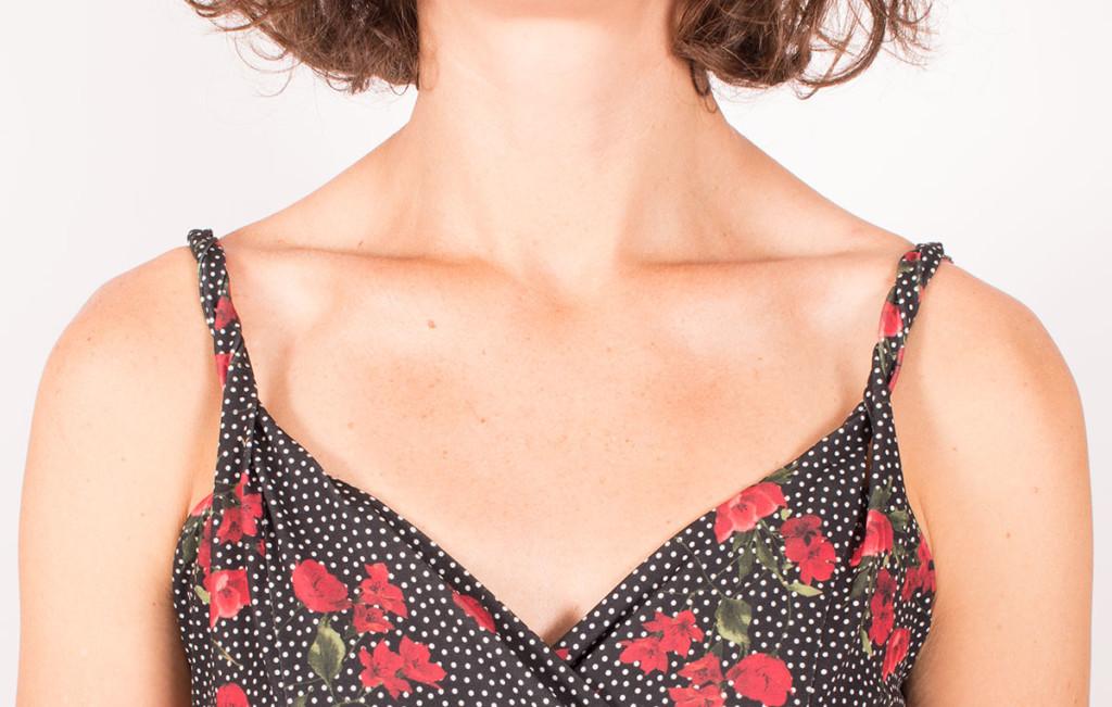 Burda 6344 sewing spaghetti straps on a jersey sundress