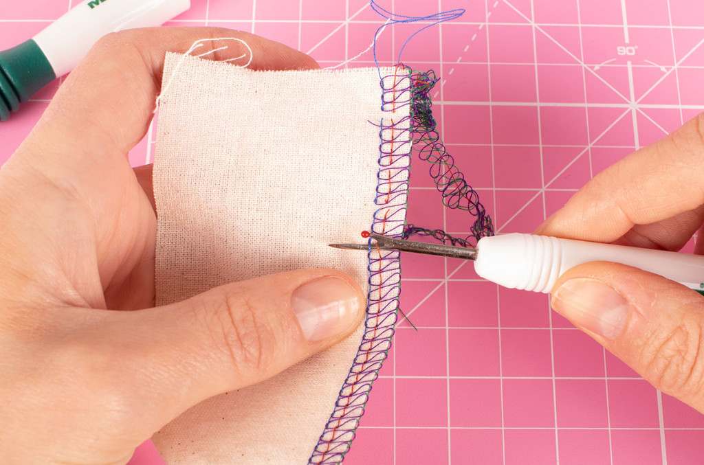 Unpicking a Four Thread Overlocker Stitch