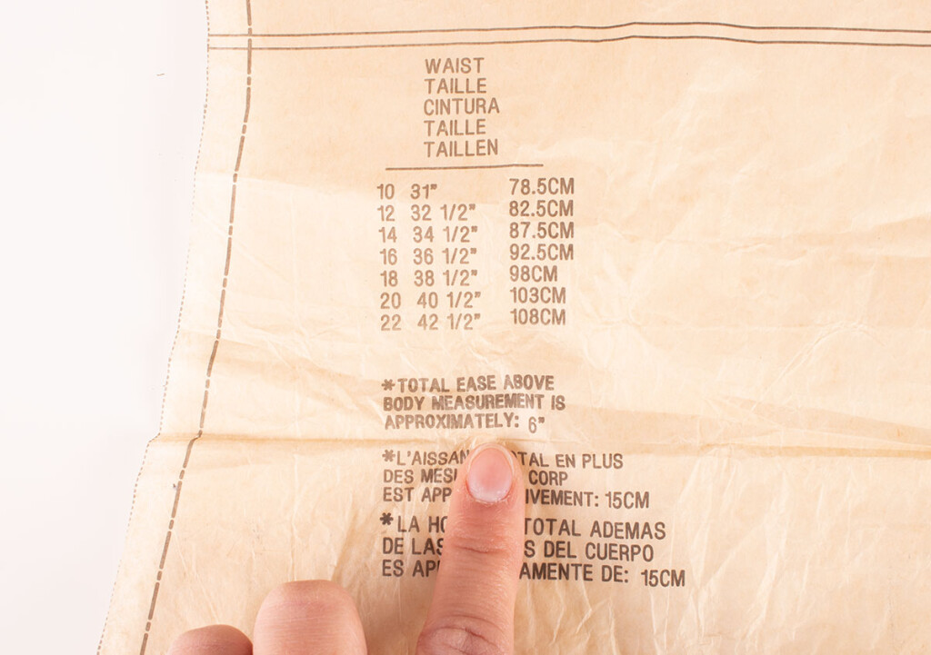 Sewing Pattern Finished Garment Measurements