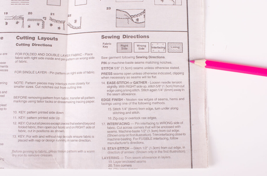 Sewing Pattern Instruction Booklet Glossary