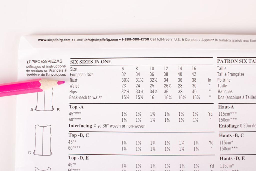 Sewing Pattern Size Chart