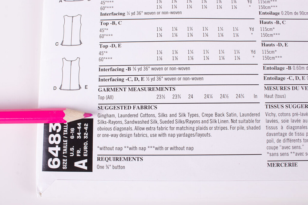 Sewing Pattern Suggested Fabrics List