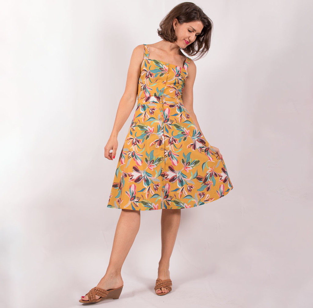 The Tilly and the Buttons Seren sundress sewn in cotton lawn fabric.