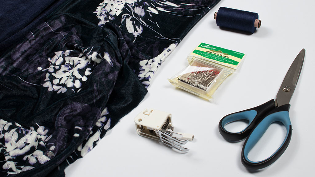 Velvet fabric and sewing tools