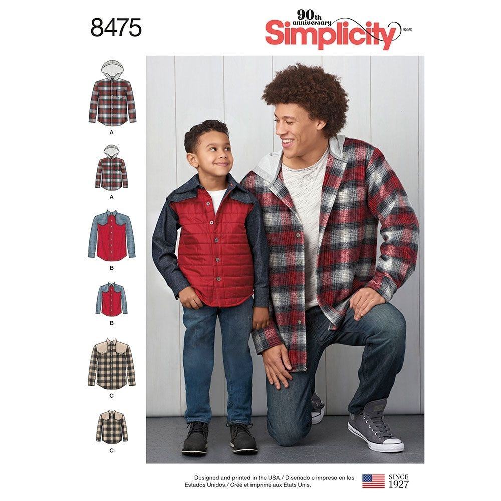 Simplicity 8475 men's shirt and jacket sewing pattern