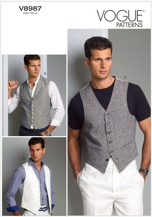 Vogue 8987 men's waistcoat sewing pattern
