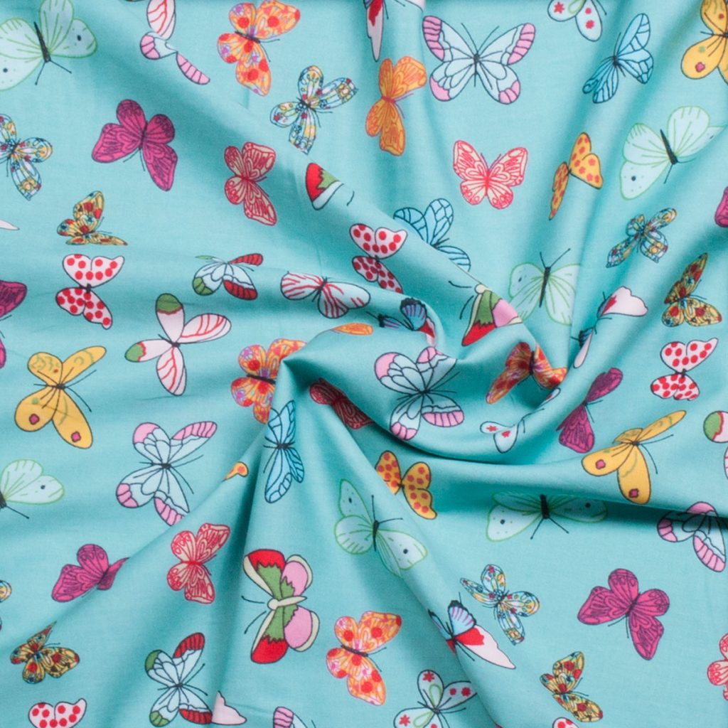 Butterfly print cotton woven fabric